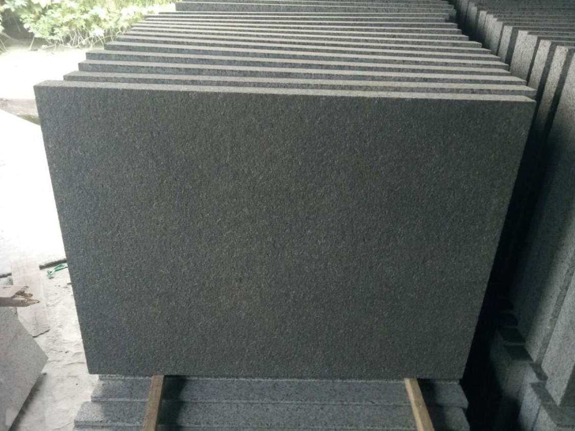 New G684 Ken Black Granite Flamed Tiles