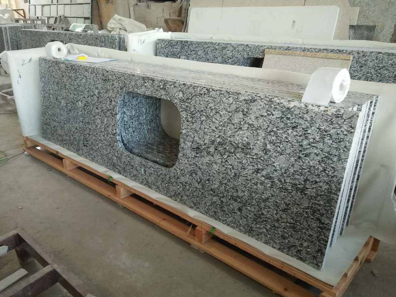 Wave White Granite Countertops