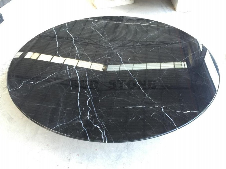 Black Marquina Marble Round Table Tops