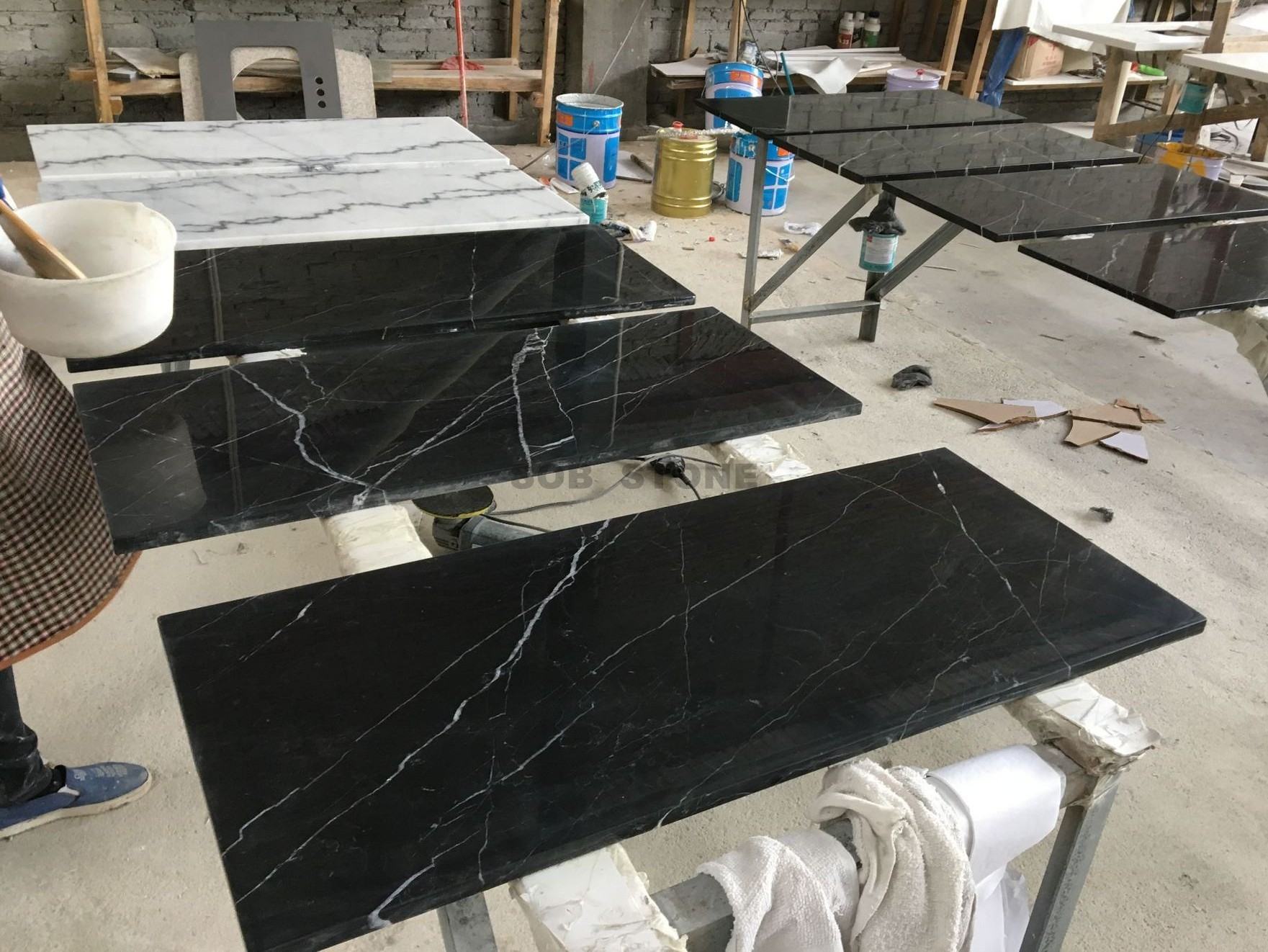 Black Marquina Marble Table Tops