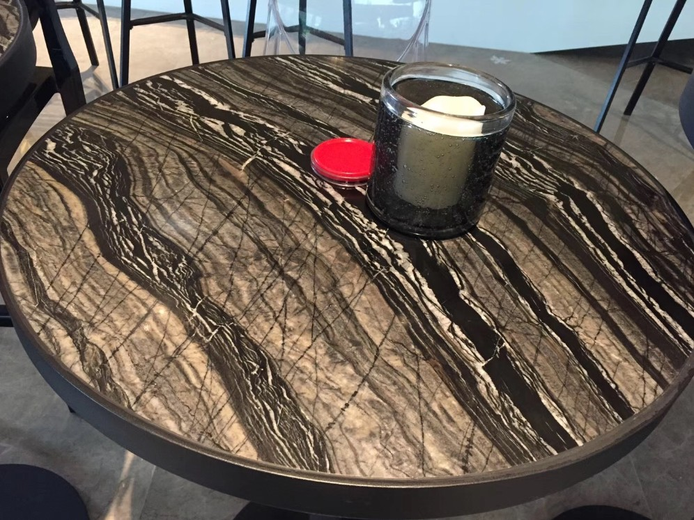 Black Wood Marble Table Tops