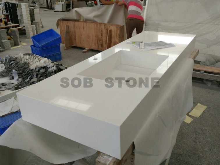 White Quartz Integrated Vanity Tops