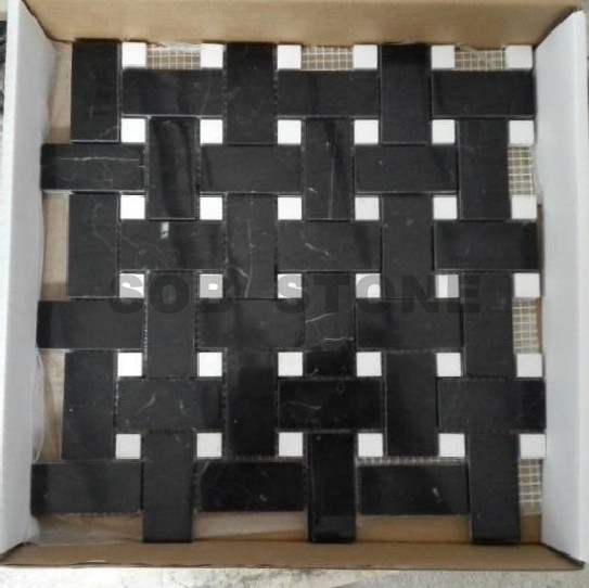 Black Marquina Basketweave Mosaic Tiles