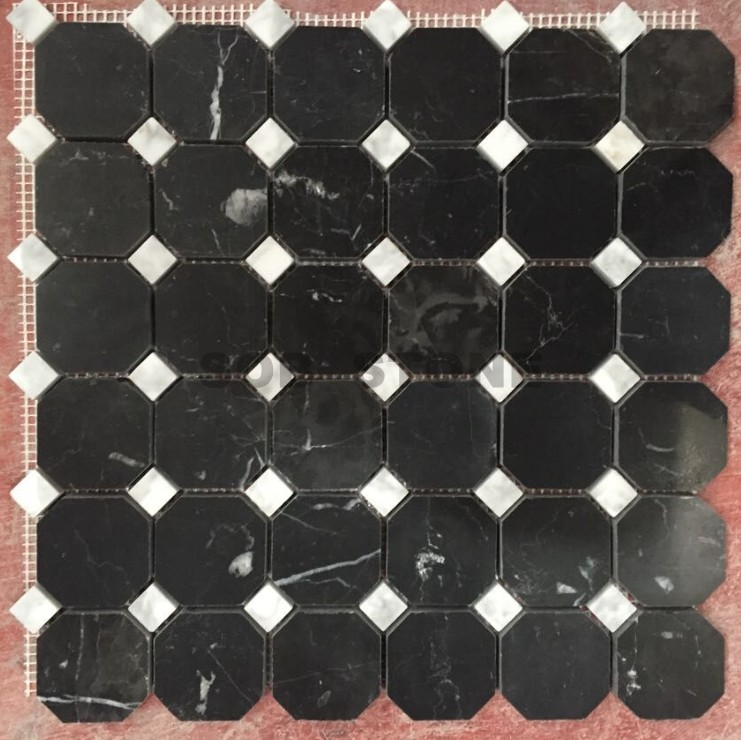 Black Marquina Octagon Mosaic Tiles