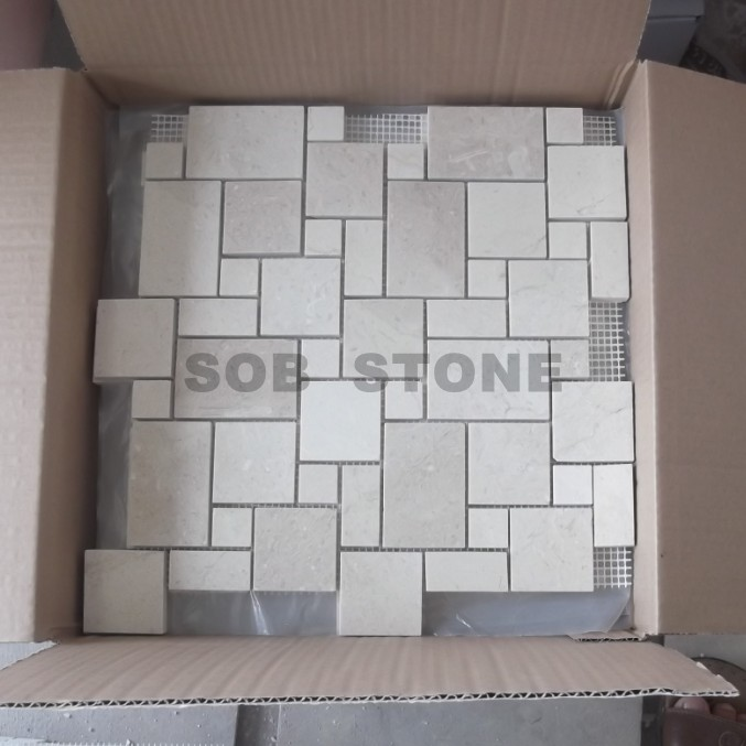 Cream Marfil Geometry Beige Marble Mosaic Tiles