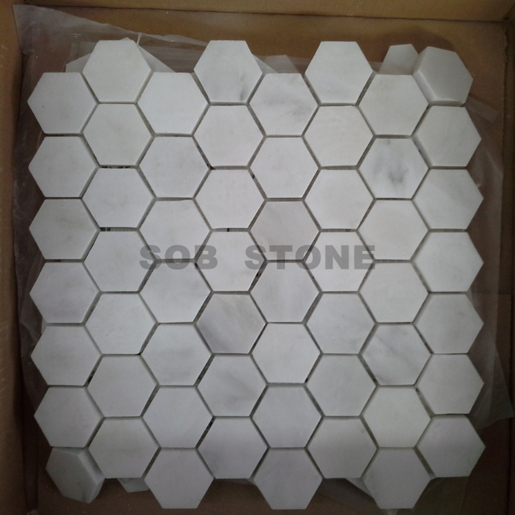 Oriental White Marble Hexagon Mosaic Tiles