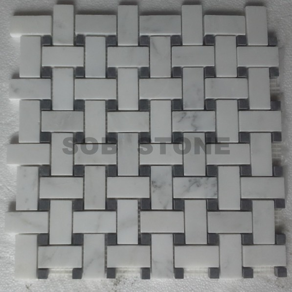 Chinese Statuary White Marble Mosaic Tiles Basketweave