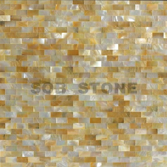 Golden Mother of Pearl Seashell Mosaic Tiles