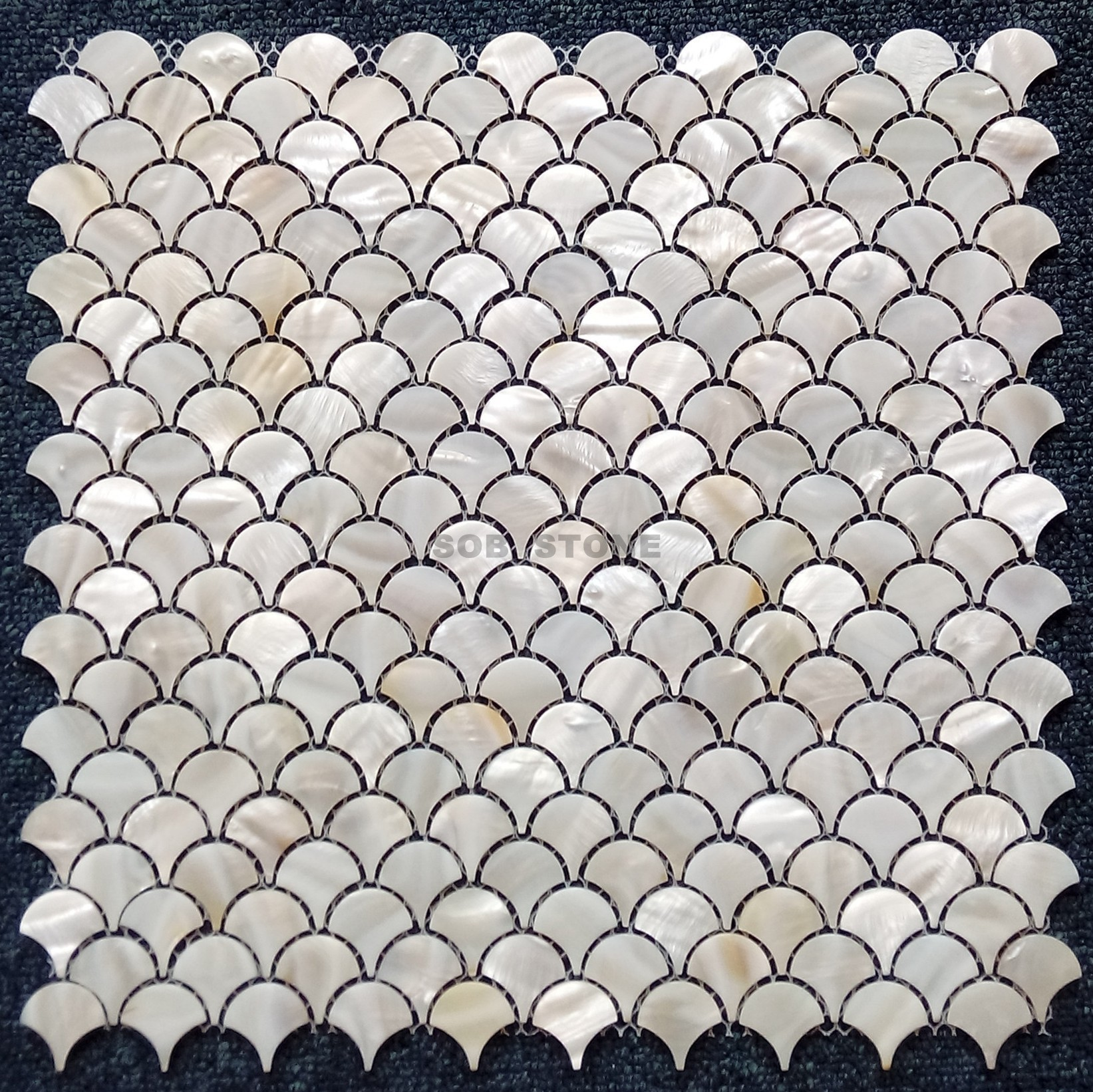 White Mother of Pearl Fan Mosaic Tiles