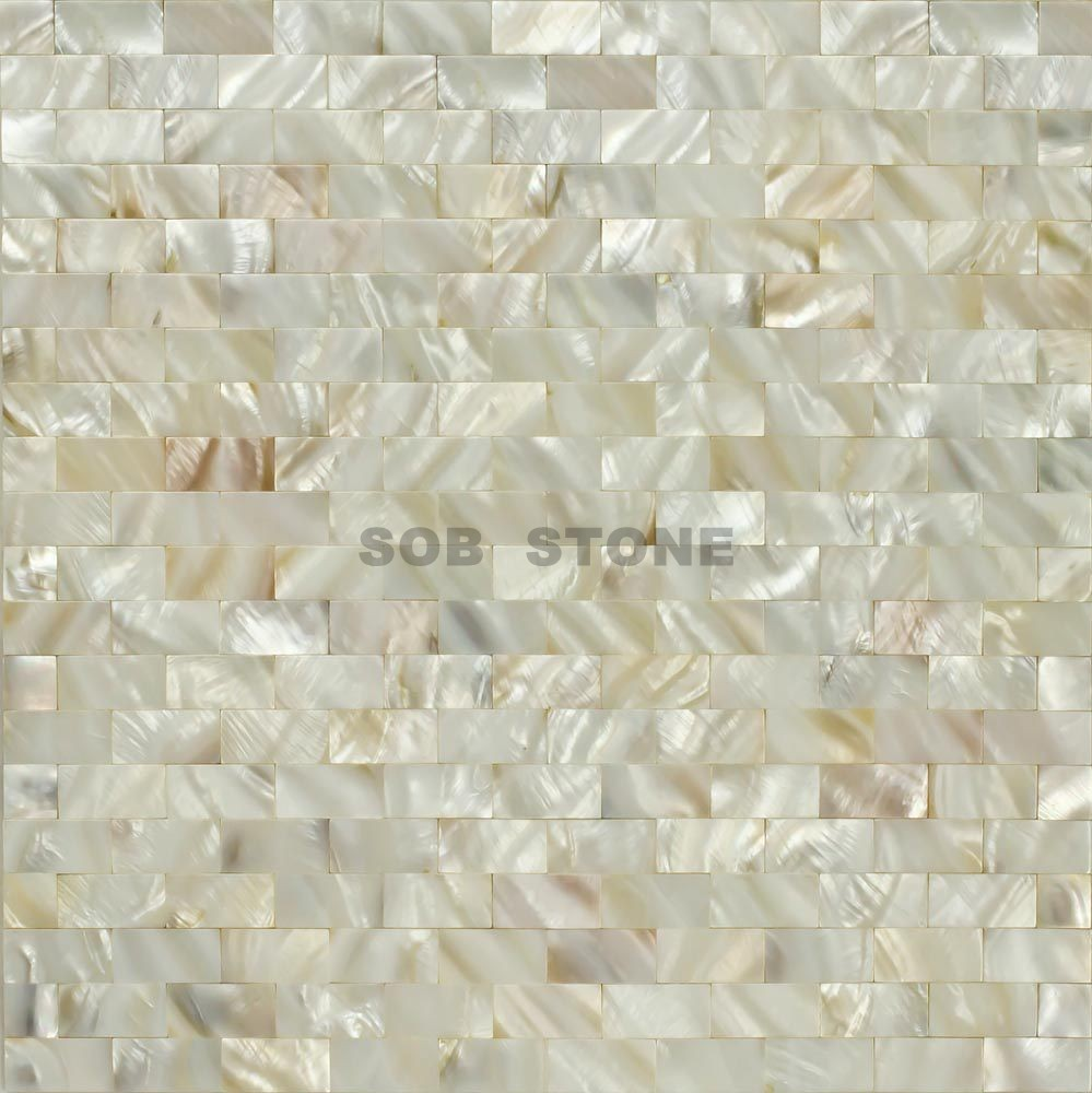 White Mother of Pearl Mosaic Tiles Square Brick