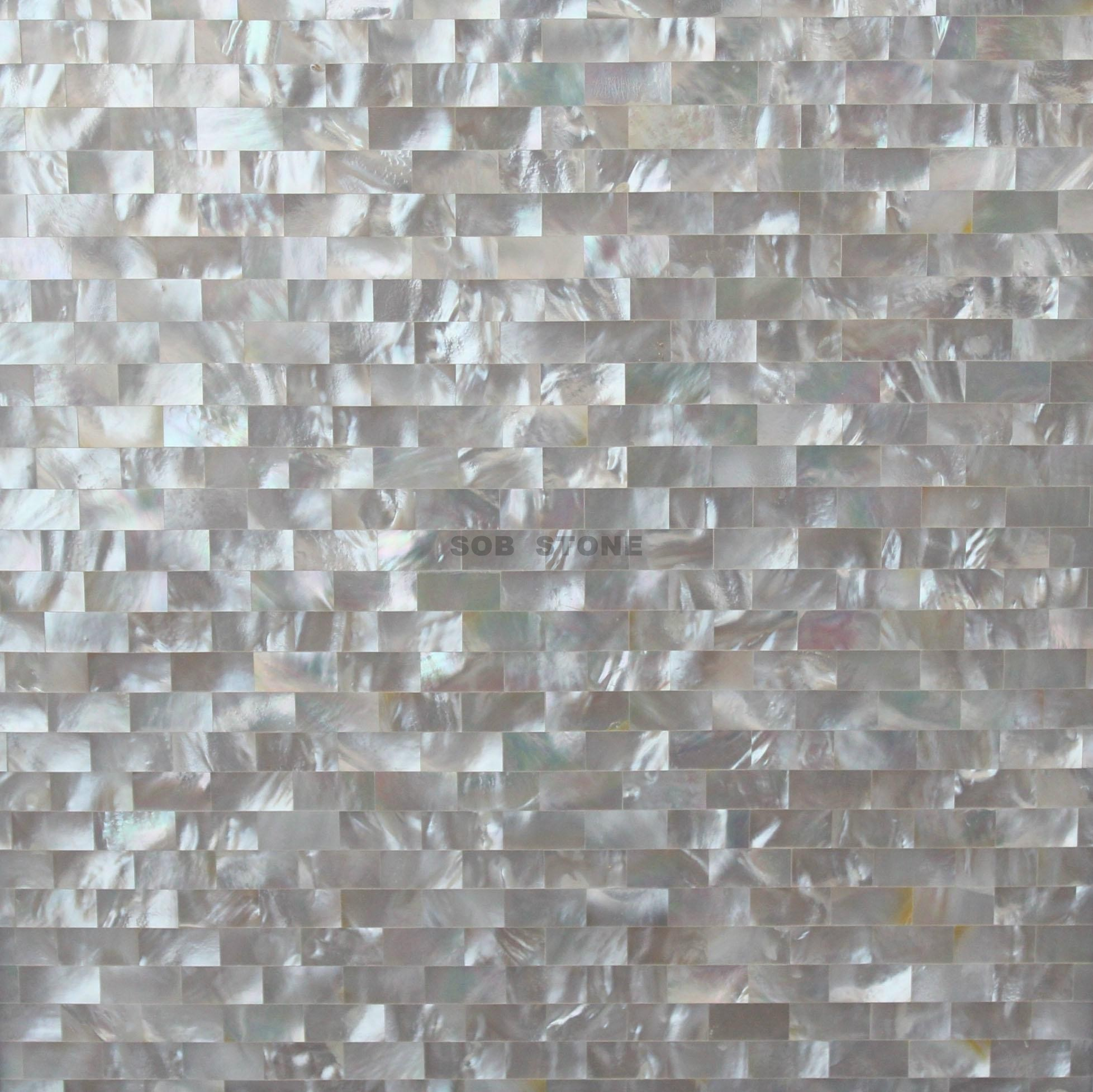 White Mother of Pearl Bricks Mosaic Tiles
