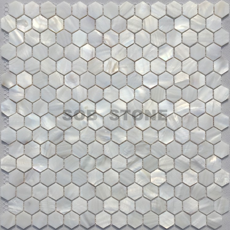 White Mother of Pearl Mosaic Tiles Hexagon