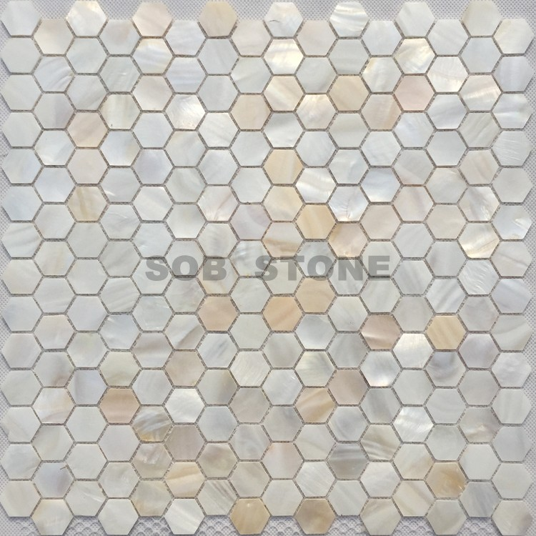 Beige Mother of Pearl Seashell Mosaic Tiles Hexagon