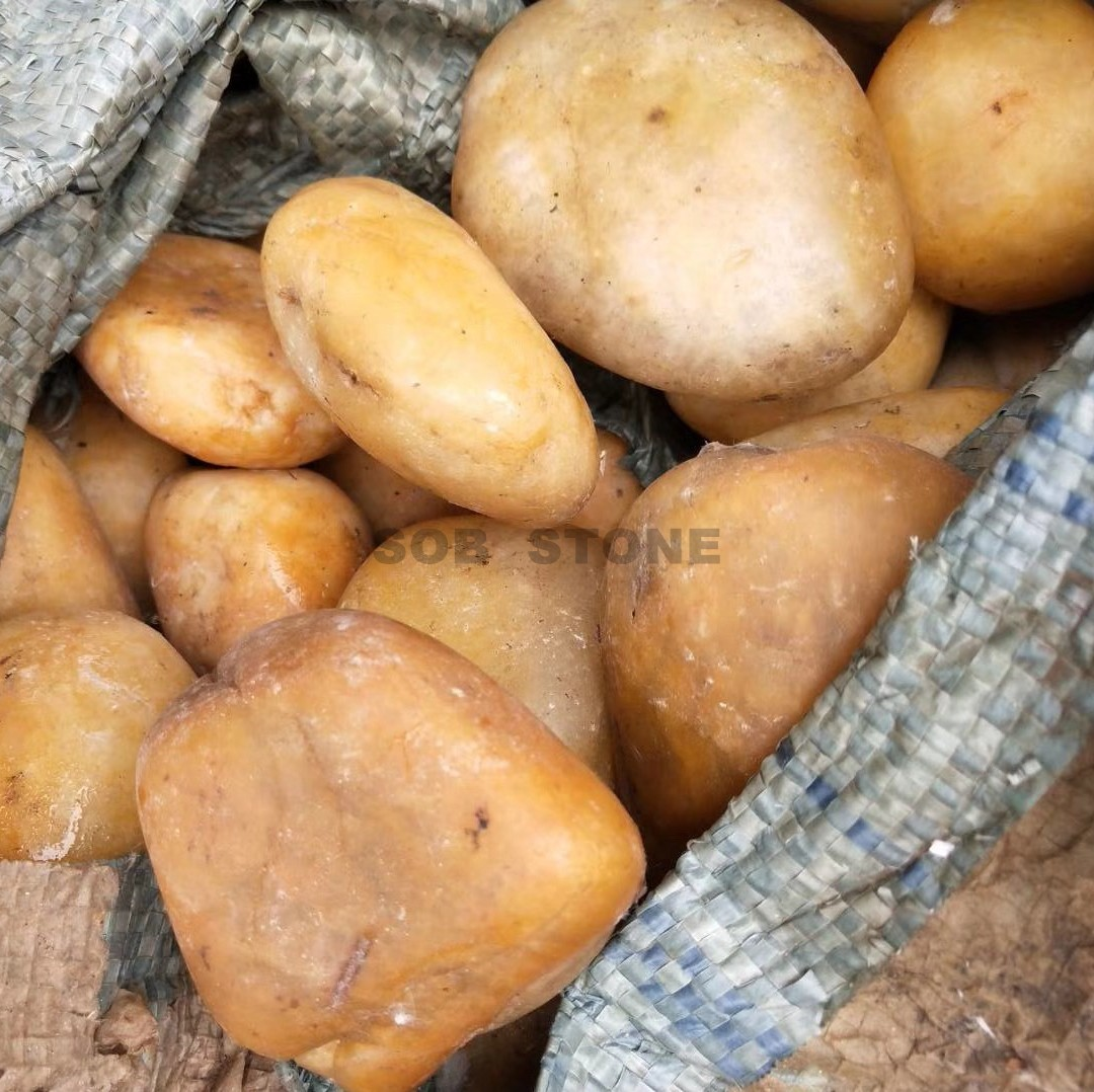 Yellow Polished Pebbles C Grade