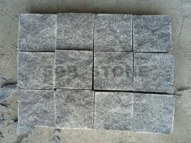 G654 Dark Grey Granite Cobble Pavers Natural Split