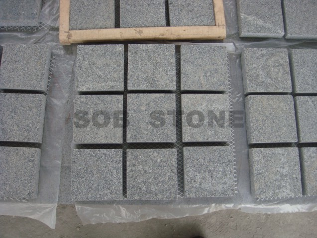G654 Grey Granite Flamed Cobbles On Sheet