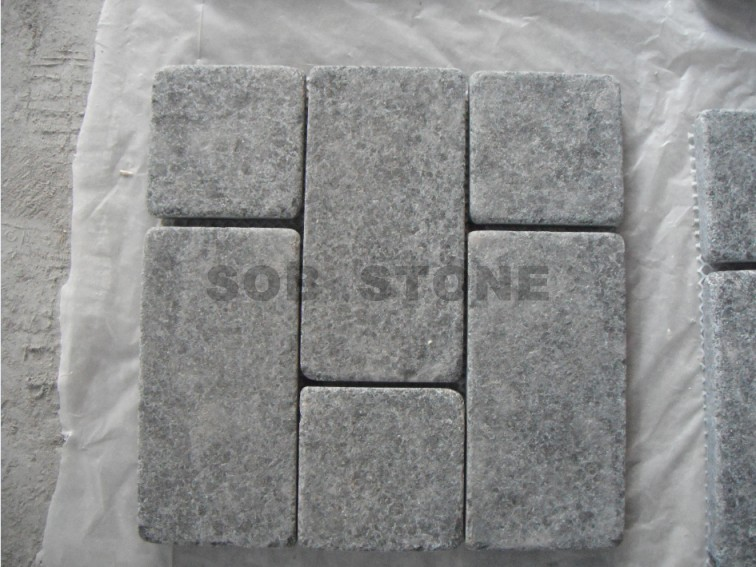 G684 Black Basalt Tumbled Cobble Pavers
