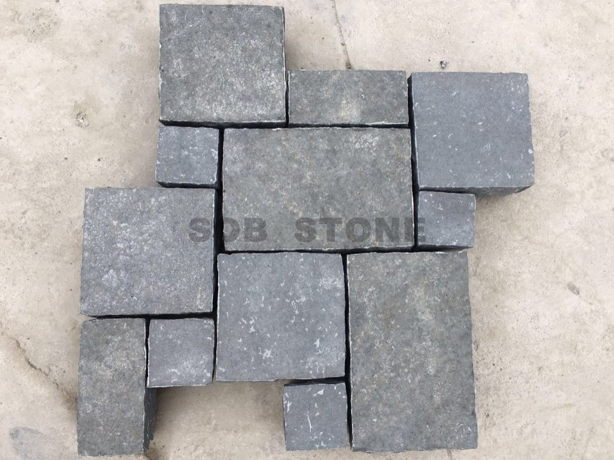 ZP Black Basalt Cobble Setts French Pattern Brick Pavers