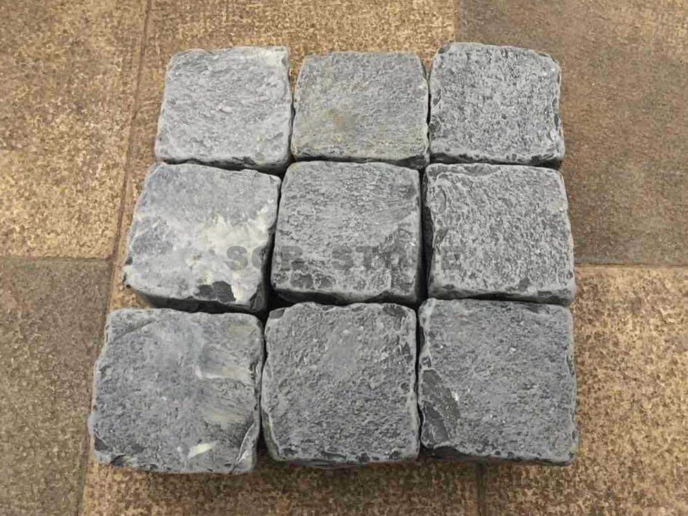 ZP Black Basalt Cobble Setts Tumbled Brick Pavers