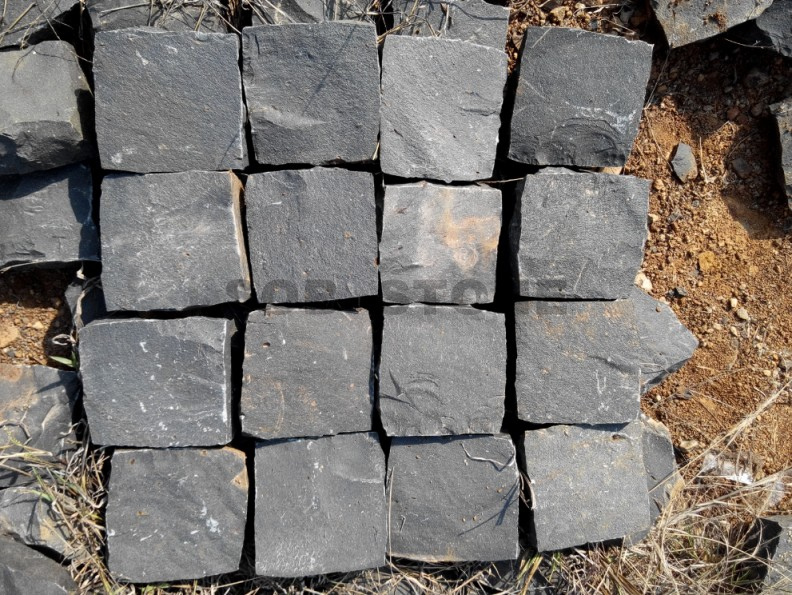 ZP Black Basalt Cobble Setts Patio Pavers Natural Split