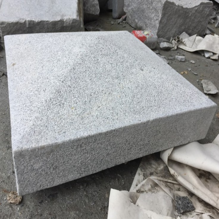 G603 Silver Grey Granite Apex Pier Caps Bush Hammered