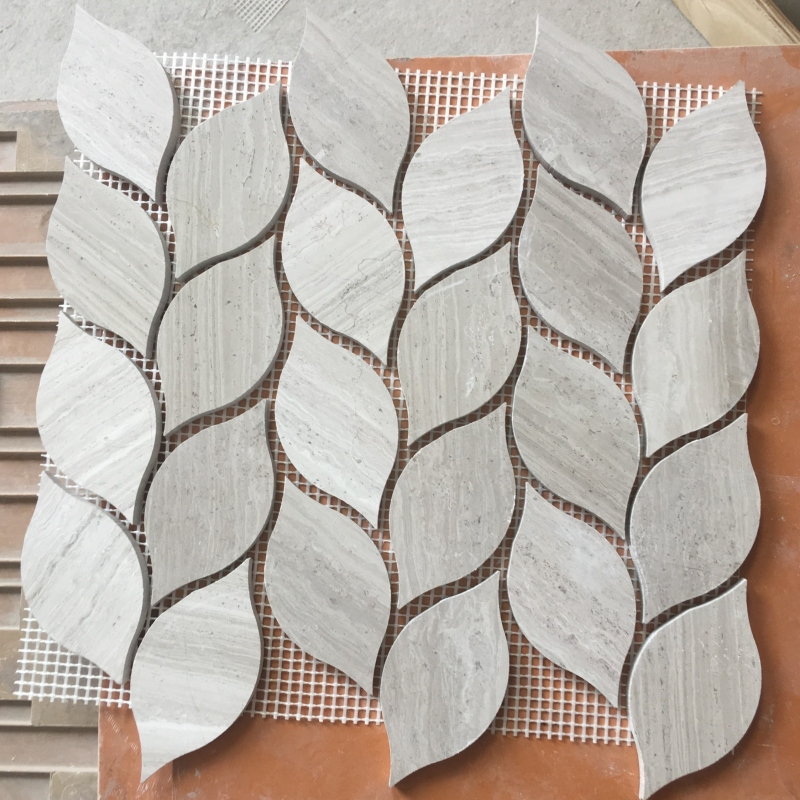 White Wooden Marble Leaves Mosaic Tiles