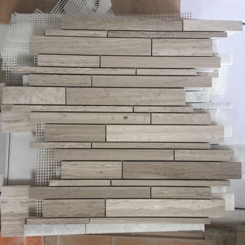 White Wooden Marble Mosaic Tiles