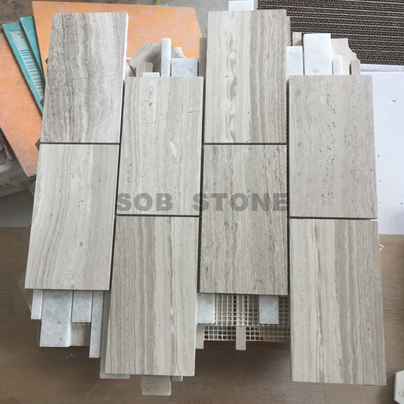 White Wooden Marble Subway Mosaic Tiles